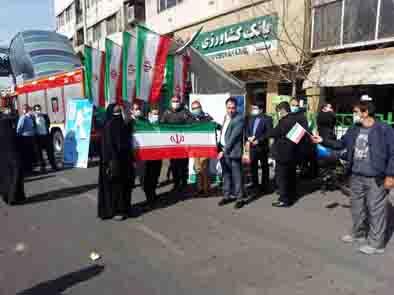 مشارکت کارکنان بانک کشاورزی در راهپیمایی خودرویی و موتوری یوم الله ۲۲ بهمن