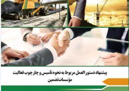 پیشنهاد دستورالعمل مربوط به نحوه تأسیس و چارچوب فعالیت مؤسسات تضمین